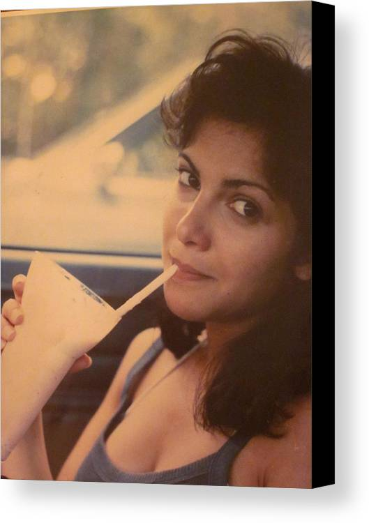 Guy Ricketts Photography Canvas Print featuring the photograph Sipping A Satisfactory Strawberry Shake by Guy Ricketts
