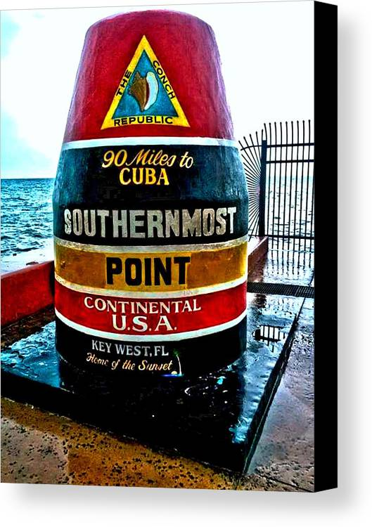 Abby D. Santiago Canvas Print featuring the photograph Southern Most Point by Abby D Santiago