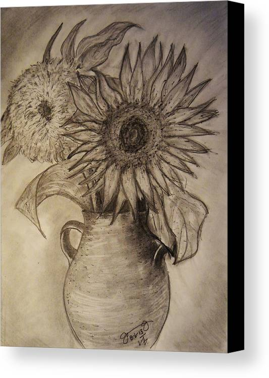 Still Life Canvas Print featuring the drawing Still Life Two Sunflowers In A Clay Vase by Jose A Gonzalez Jr