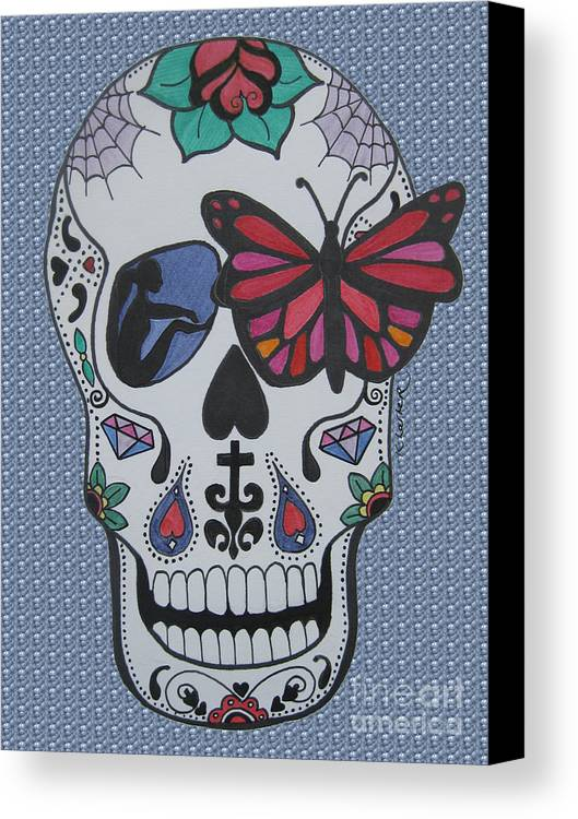 Sugarskull Canvas Print featuring the drawing Sugar Candy Skull Bubbles by Karen Larter