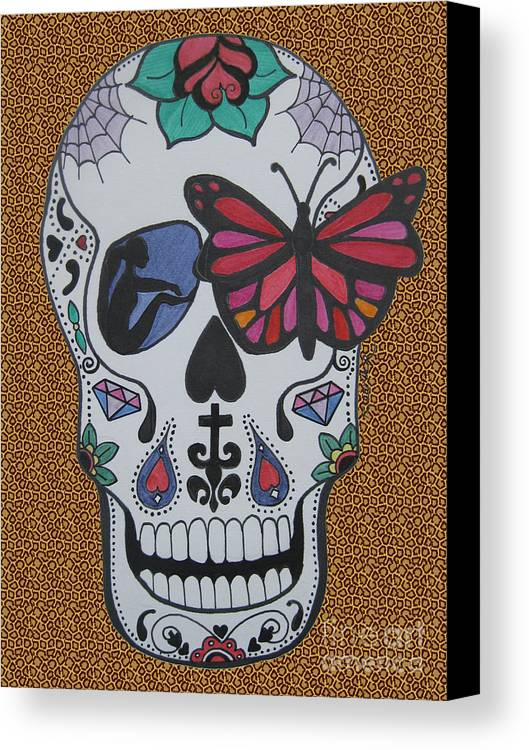 Sugarskull Canvas Print featuring the drawing Sugar Candy Skull Leopard by Karen Larter