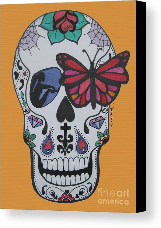 Sugarskull Canvas Print featuring the drawing Sugar Candy Skull Orange by Karen Larter