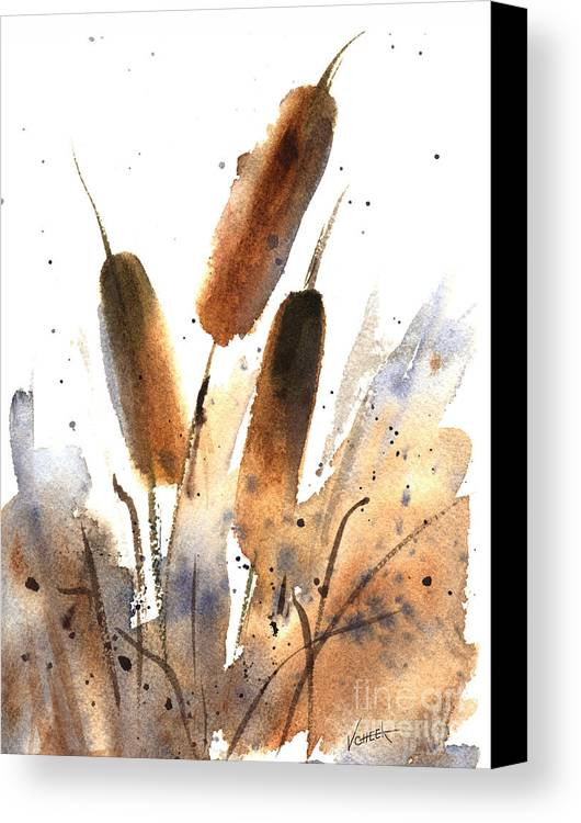 Art Canvas Print featuring the painting Sunlit Cattails by Vickie Sue Cheek