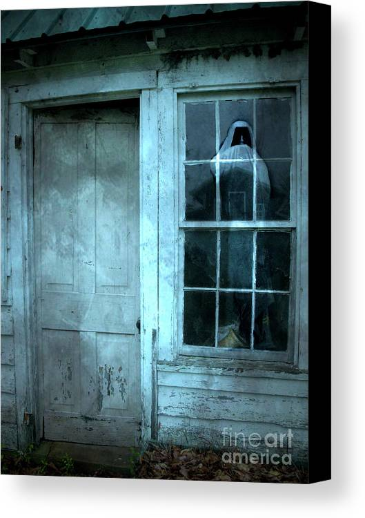 Scary Spooky Photography Canvas Print Featuring The Photograph Surreal Gothic Grim Reaper In Window