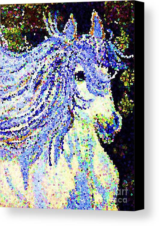 Blue And White Pony Canvas Print featuring the painting The Blue And White Pony by Saundra Myles