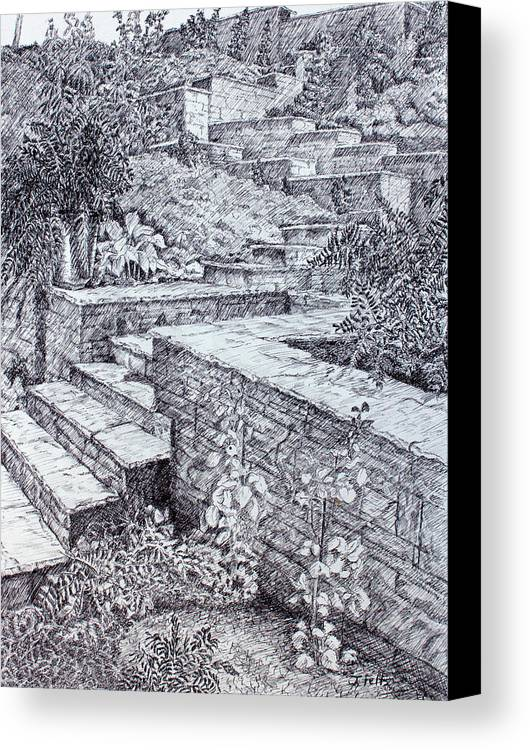 Garden Canvas Print featuring the drawing The Garden Wall by Janet Felts