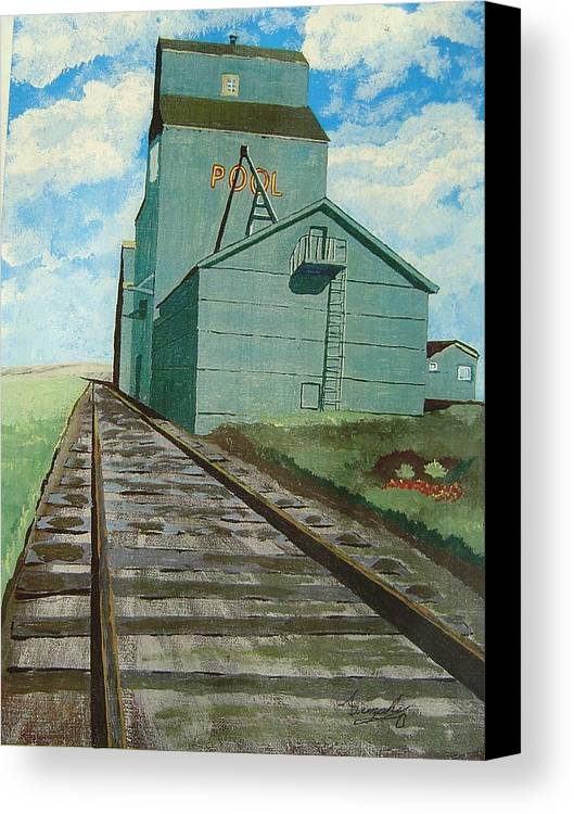 Elevator Canvas Print featuring the painting The Grain Elevator by Anthony Dunphy