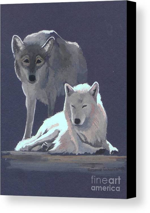 Wolves Canvas Print featuring the painting The Guardian by Suzanne Schaefer