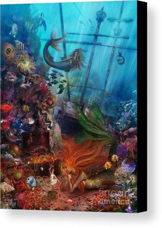 Animal Canvas Print featuring the digital art The Mermaids Treasure by Aimee Stewart