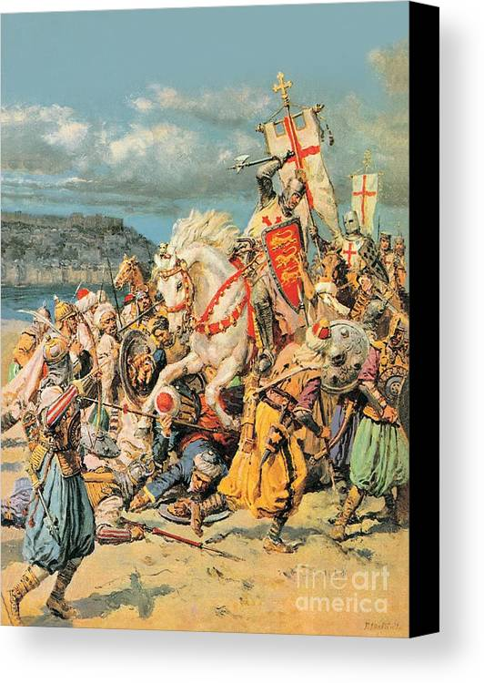 Mighty Canvas Print featuring the painting The Mighty King Of Chivalry Richard The Lionheart by Fortunino Matania