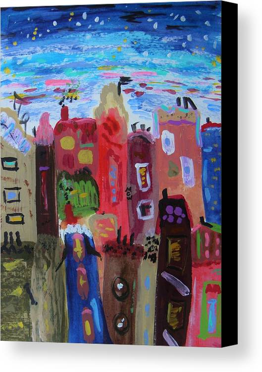 The Stars Are Out Early Tonight Canvas Print featuring the painting The Stars Are Out Early Tonight by Mary Carol Williams