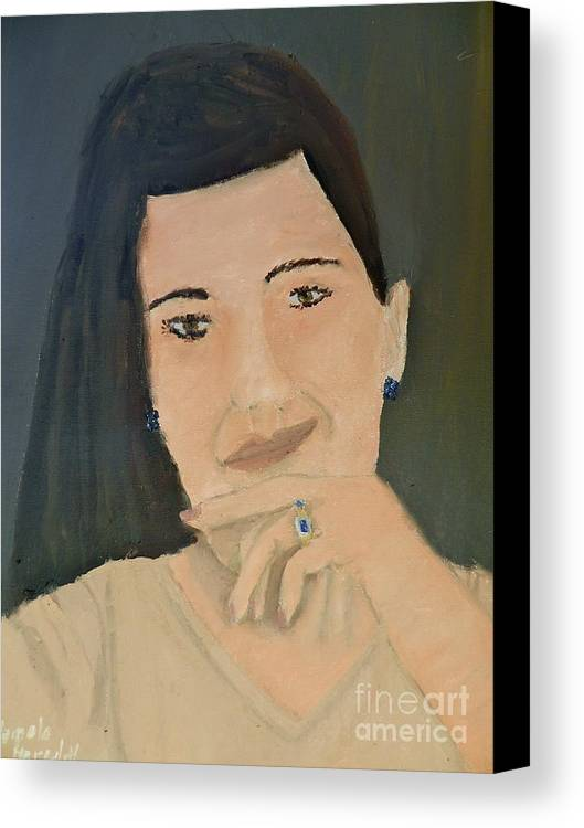 Portrait Canvas Print featuring the painting Thinking Of What To Do Next by Pamela Meredith