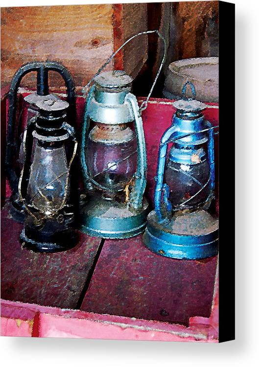Lamp Canvas Print featuring the photograph Three Kerosene Lamps by Susan Savad