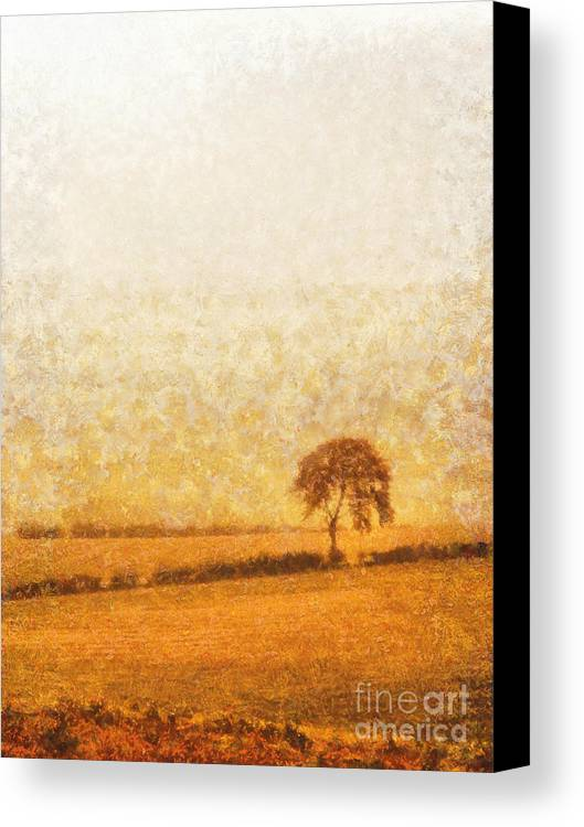 Tree Canvas Print featuring the painting Tree On Hill At Dusk by Pixel Chimp