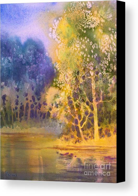 Trees And Water Canvas Print featuring the painting Trees And Water by Teresa Ascone