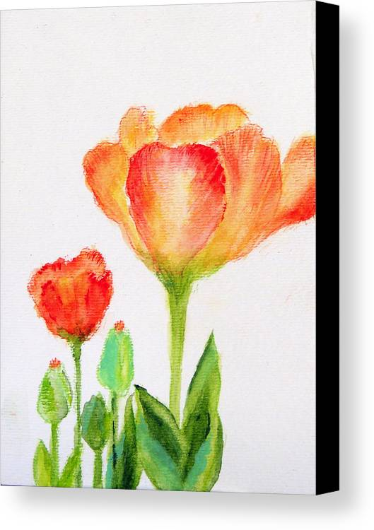 Floral Canvas Print featuring the painting Tulips Orange And Red by Ashleigh Dyan Bayer