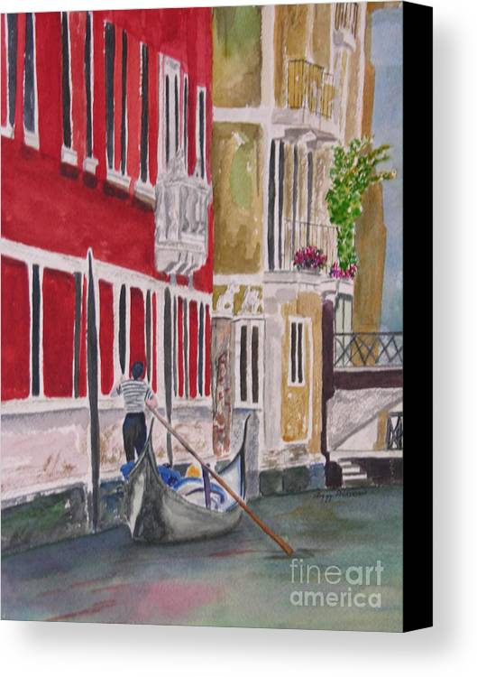 Canal Canvas Print featuring the painting Venice by Peggy Dickerson