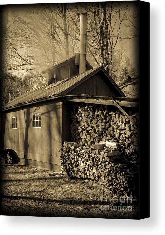 Maple Canvas Print featuring the photograph Vermont Maple Sugar Shack Circa 1954 by Edward Fielding