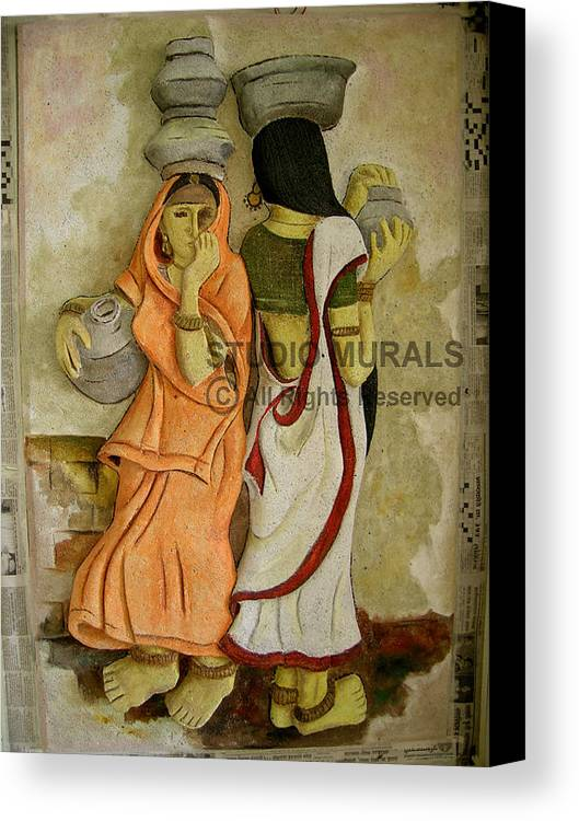 Murals Canvas Print featuring the relief Village by Milind Badve