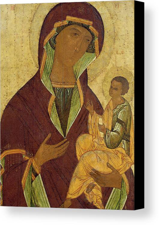 Madonna; Mary; Jesus Christ; Icon; Scroll; Byzantine Canvas Print featuring the painting Virgin And Child by Russian School