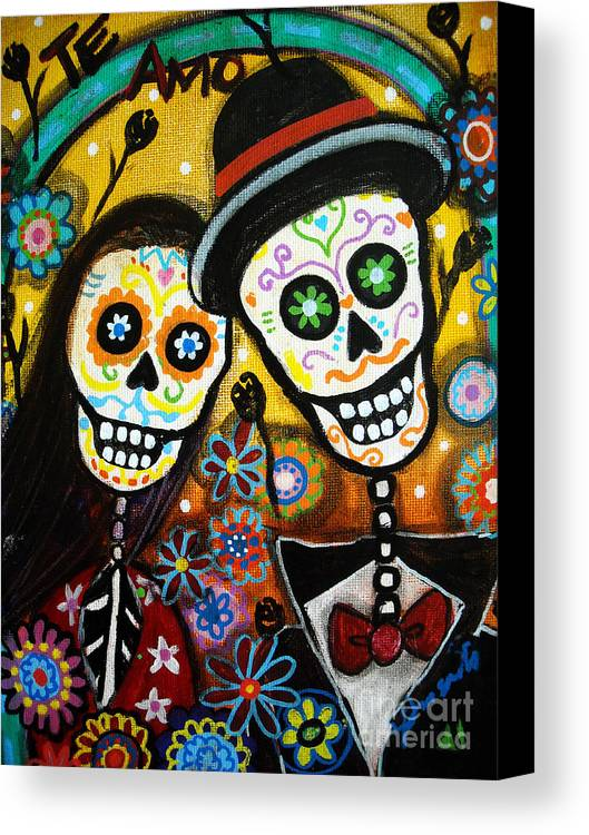 Dia Canvas Print featuring the painting Wedding Dia De Los Muertos by Pristine Cartera Turkus