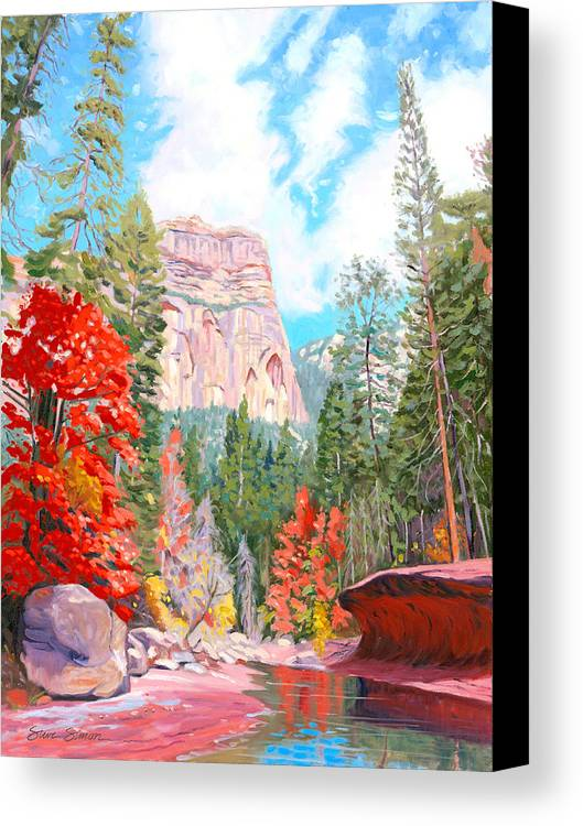 Sedona Canvas Print featuring the painting West Fork - Sedona by Steve Simon