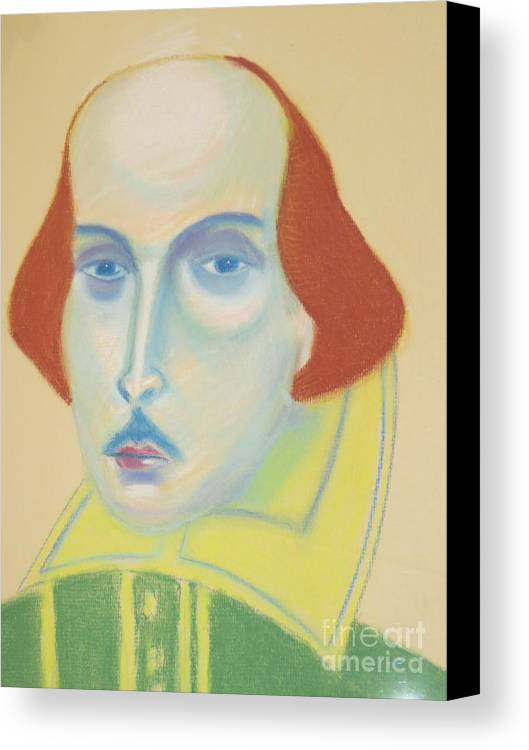 Portrait Canvas Print featuring the drawing William Shakespeare by Manuel Matas