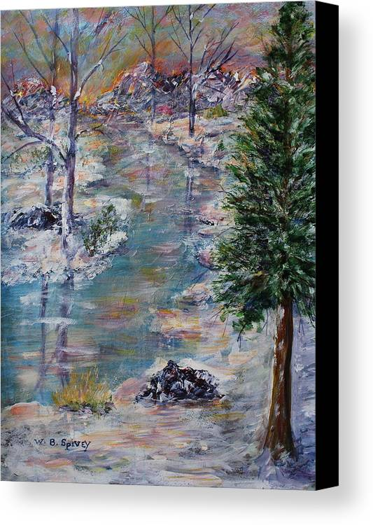 Canvas Print featuring the painting Winter Sunset by William Spivey