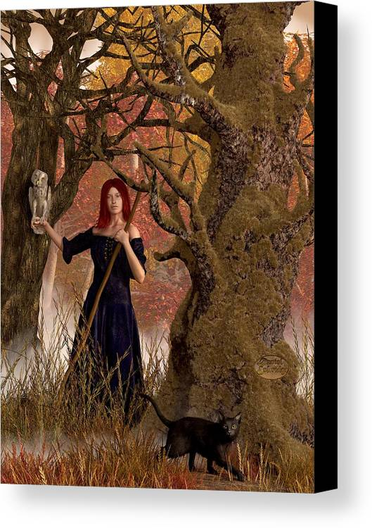Autumn Canvas Print featuring the digital art Witch Of The Autumn Forest by Daniel Eskridge