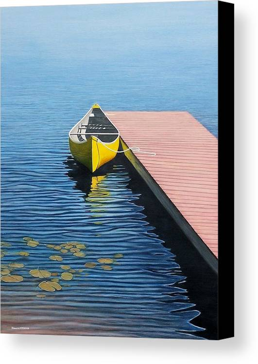 Landscape Paintings Canvas Print featuring the painting Yellow Canoe by Kenneth M Kirsch