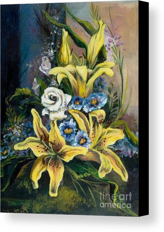 Originals Canvas Print featuring the painting Yellow Lillies by Elisabeta Hermann