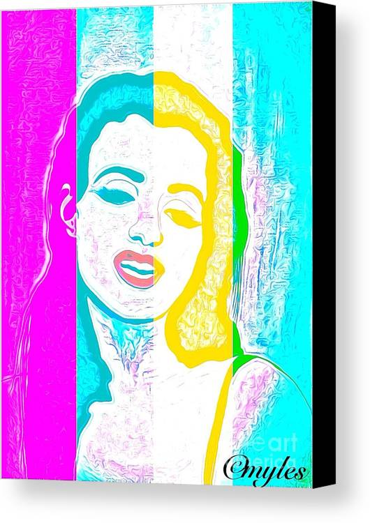 Marilyn Monroe Canvas Print featuring the painting Young Marilyn Soft Pastels Impression by Saundra Myles