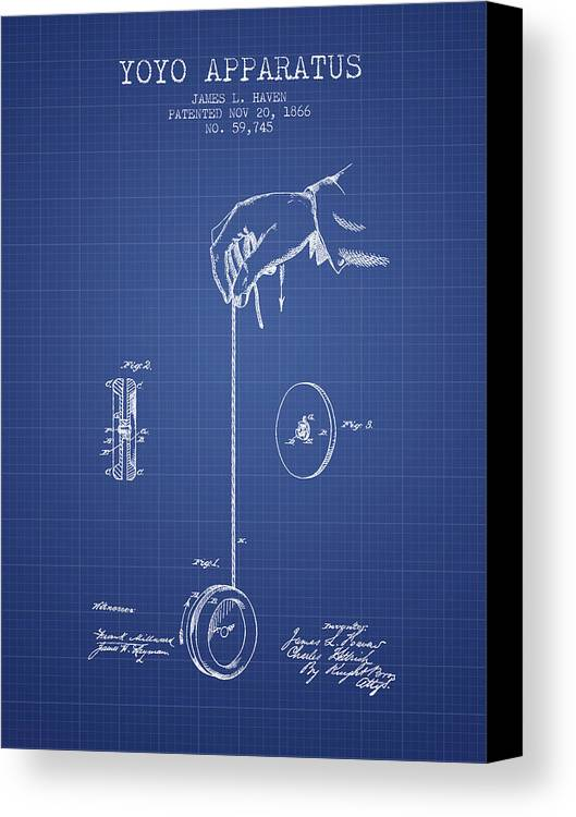 Yoyo patent from 1866 blueprint canvas print canvas art by aged yoyo canvas print featuring the digital art yoyo patent from 1866 blueprint by aged pixel malvernweather Images