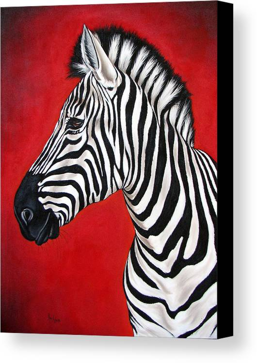 Zebra Canvas Print featuring the painting Zebra by Ilse Kleyn