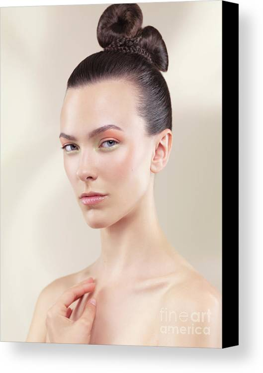 Beauty Canvas Print featuring the photograph Beautiful Young Woman Portrait by Oleksiy Maksymenko