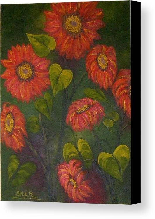Sunflower Plant In Garden Of Country House. Canvas Print featuring the painting Orange Sunflowers by SHER Millis