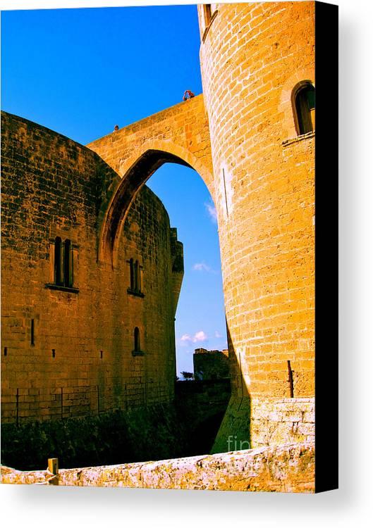 Bellver Canvas Print featuring the photograph Bellver Castle Mallorca by Iris Vanessa Hood