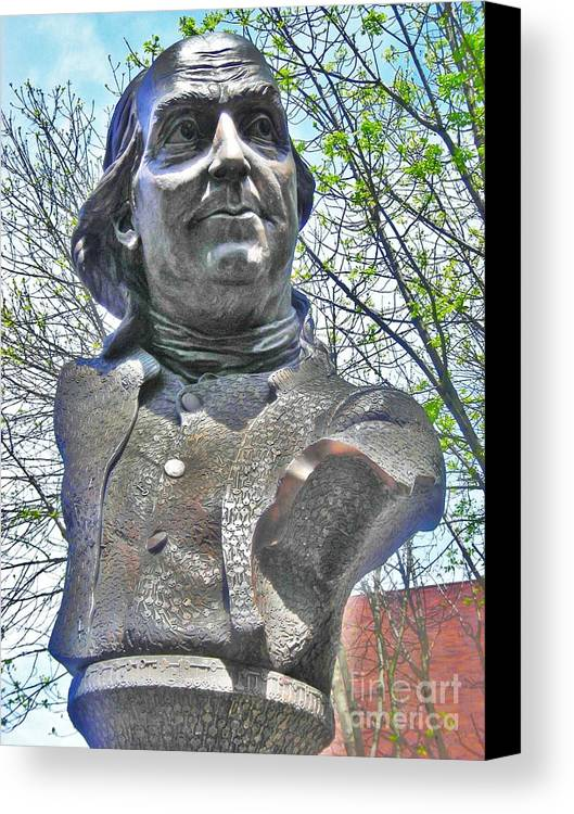 Benjamin Franklin Canvas Print featuring the photograph Ben's Bust by Snapshot Studio