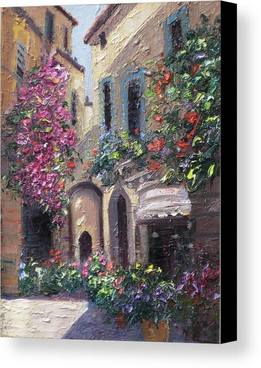 Cityscape Canvas Print featuring the painting Blooming Alley by Mehran Rashidfarokhy
