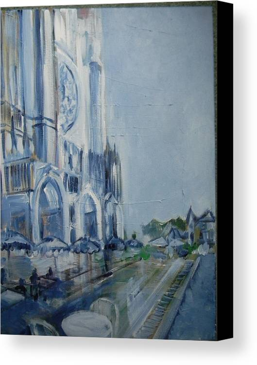 Chartre Canvas Print featuring the painting Blue Study Of Chartre by Carol Mangano