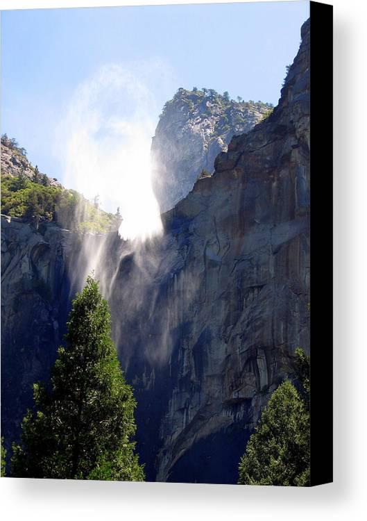 Yosemite Canvas Print featuring the photograph Bridalveil Falls In Yosemite by Carla Parris