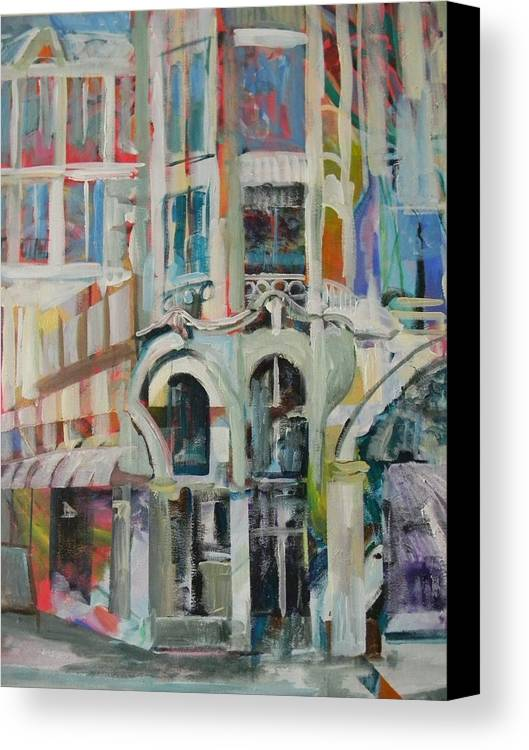 Cafe Canvas Print featuring the painting Cafe In Paris by Carol Mangano
