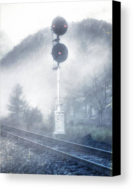 Tracks Canvas Print featuring the photograph Cold And Foggy by Kathy Jennings