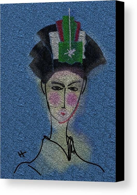 Digital Painting Canvas Print featuring the digital art Day Dream Of A Geisha by Hayrettin Karaerkek