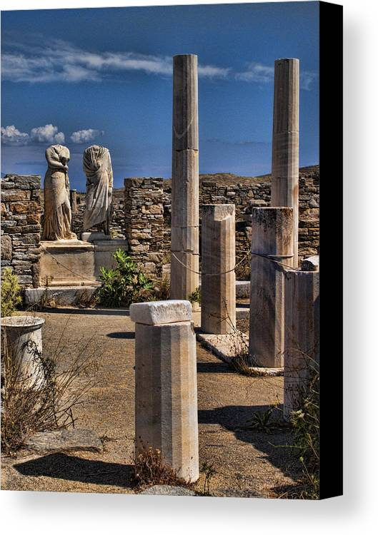 House Of Cleopatra Canvas Print featuring the photograph Delos Island by David Smith