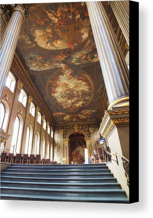 Painted Hall Canvas Print featuring the photograph Dining Hall At Royal Naval College by Anna Villarreal Garbis