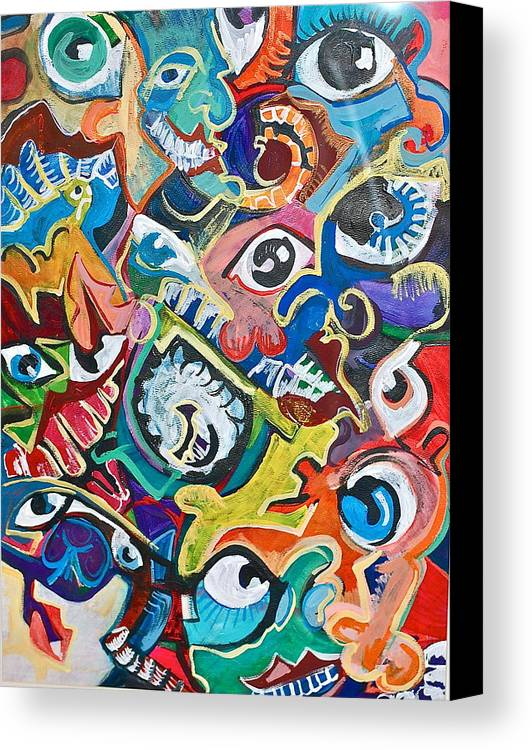 Eye Canvas Print featuring the painting Faces In A Crowd by Jame Hayes