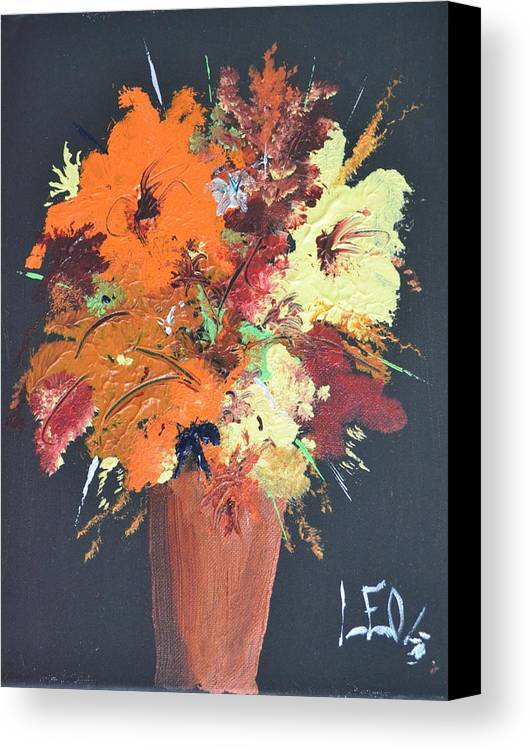 Flowers Canvas Print featuring the painting Fall Flower Arrangement 1 by Leo Gordon