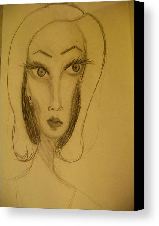Canvas Print featuring the drawing Fawny Eyes by Laurette Escobar