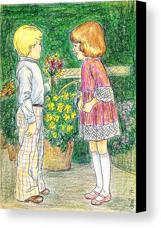 Nostalgia Canvas Print featuring the drawing Flower Children by Mel Thompson